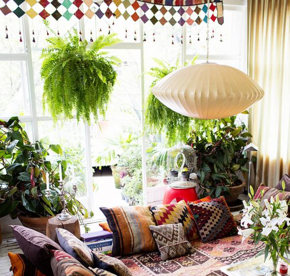 Яркий декор и растения в дизайне комнаты