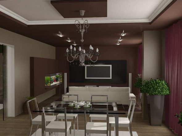 Стены и потолок гостиной в цвете венге