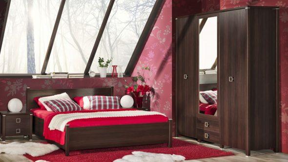 Сочетание красного и венге в спальне