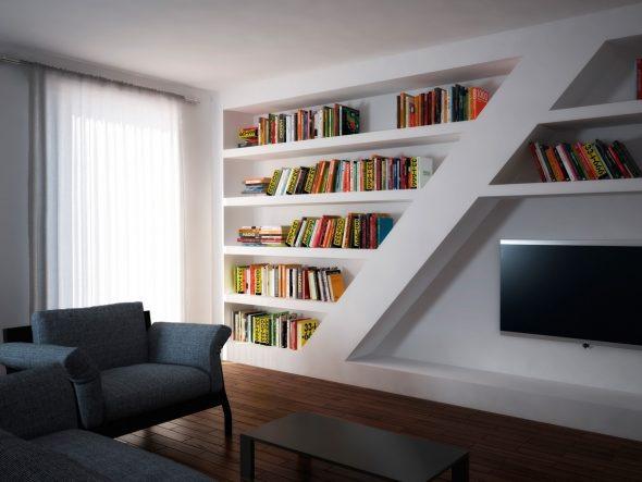 Полки для книг из гипсокартона