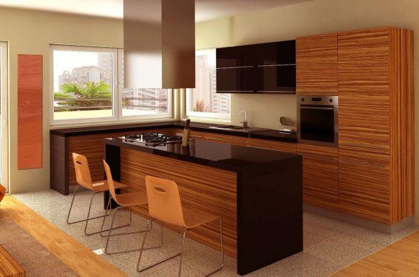Кухня с деревянными и чёрными фасадами