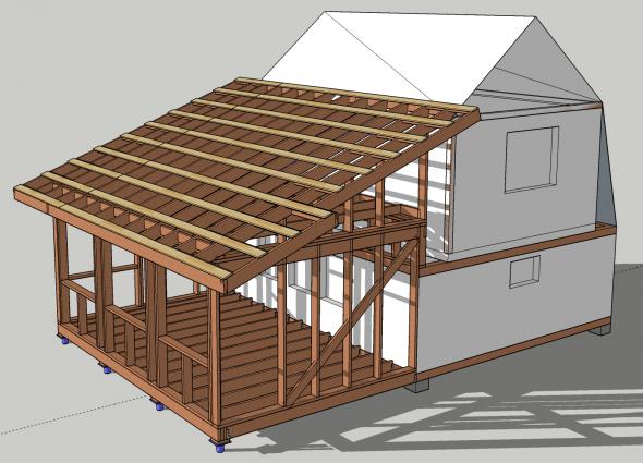 Проект пристройки к двухэтажному дому