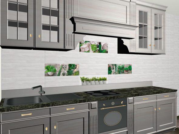 плитка для кухни с растительными орнаментами