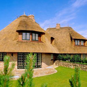 Современный дом под соломенной крышей