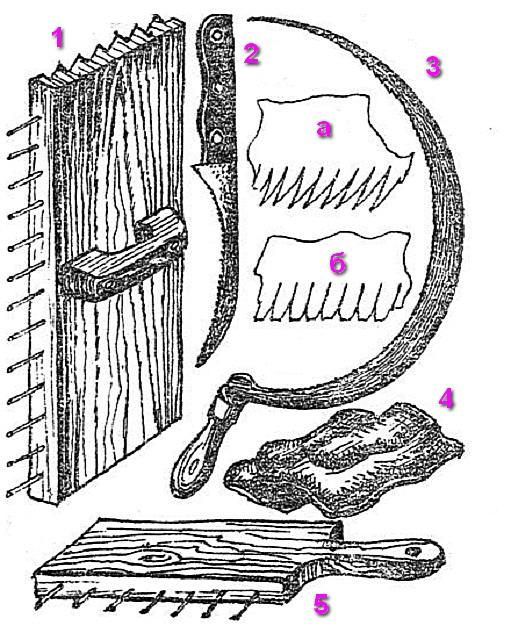 Инструмент для заготовки и укладки камыша на крыше