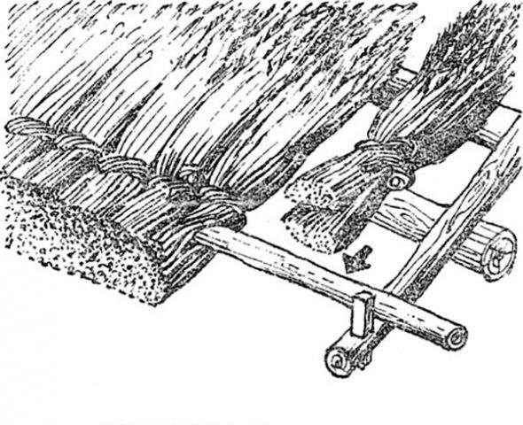 Схема укладки первого ряда соломенной крыши