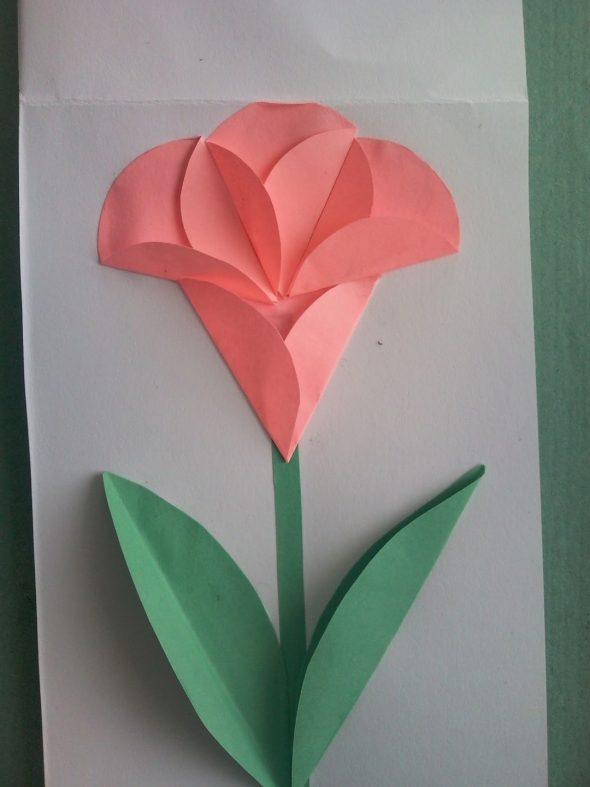 Аппликация в виде розового цветка