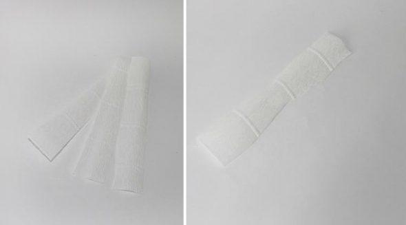 Разрезать бумагу по 3 см на 3 части
