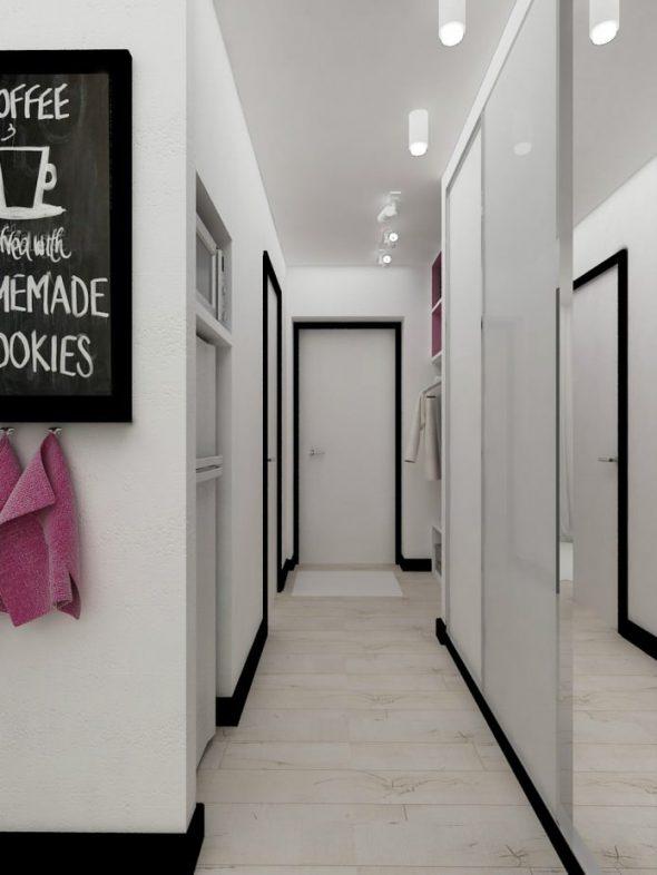 Квартира-студия 22 кв. м в черно белых тонах