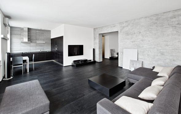 дизайн квартиры студии в черно белых тонах