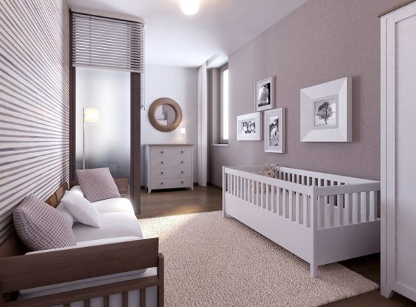 Детская кроватка в комнате