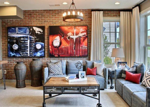 Стильная комната с кирпичной стеной