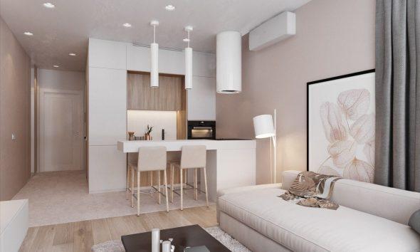 Спальное место и кухня в квартире-студии