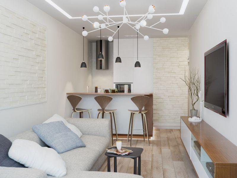 Дизайн однокомнатной квартиры в светлых тонах: фото