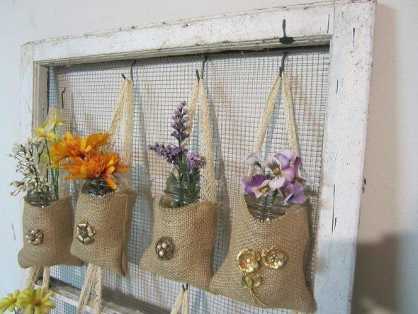 Карманы для цветов из мешковины