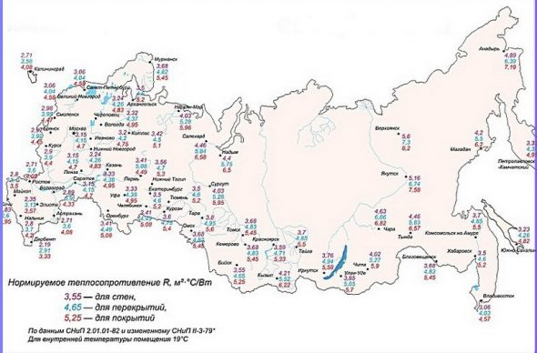 Районированная карта нормируемого теплосопротивления