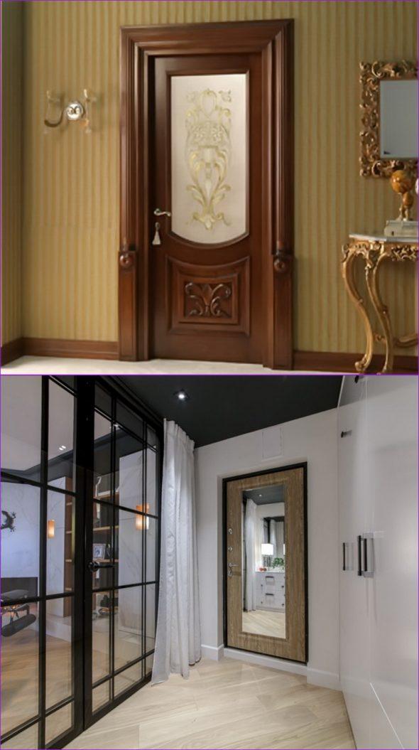 Двери, декорированные зеркалом и стеклом с узором