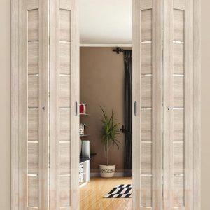 Дверь-гармошка распахивается в обе стороны
