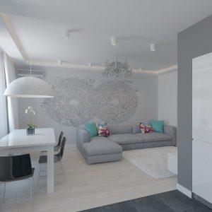 Белая дверь в светлой гостиной