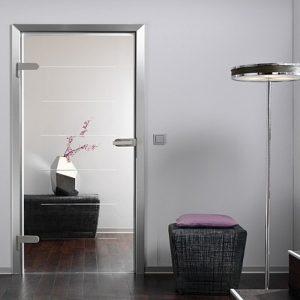 Дверь со вставкой-зеркалом в металлической раме
