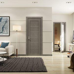 Серая дверь в сочетании с серым ковром