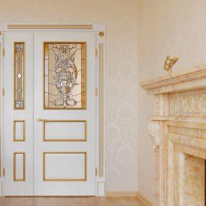 Дверь в стиле модерн с витражом