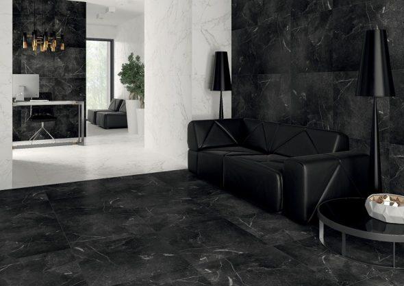 Чёрно-белый интерьер с каменной отделкой