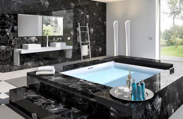 Чёрный камень в отделке ванной комнаты