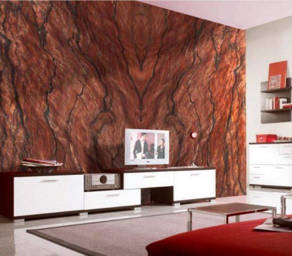 Красивый декоративный камень в отделке комнаты