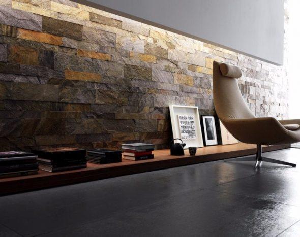 Стильный интерьер с применением камня
