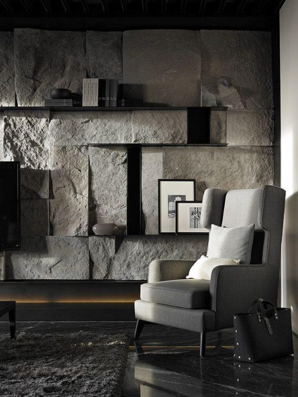 Брутальная отделка квартиры камнем