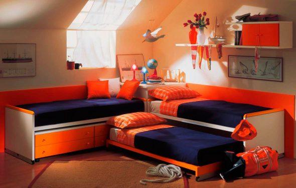 Выдвижная кровать в детской