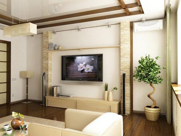 Дизайн зала в хрущёвке в светлых тонах