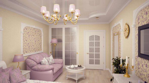 Дизайн зала в хрущёвке в пастельных тонах