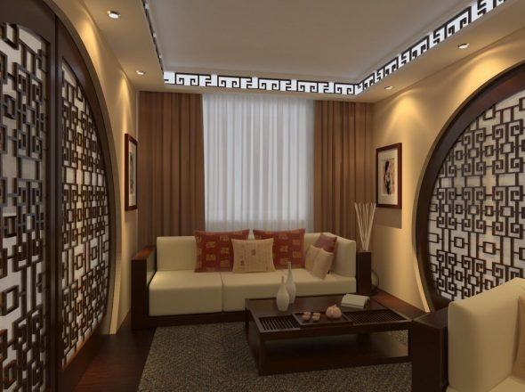 Дизайн зала в хрущёвке в тёмных тонах