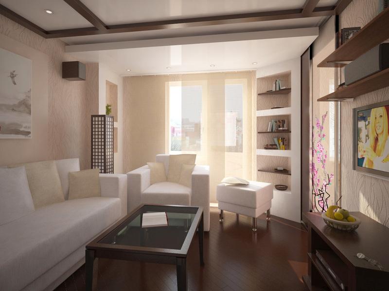 Дизайн зала в хрущёвке: идеи на фото