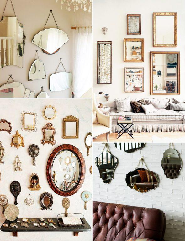 Декорирование стен зеркалами