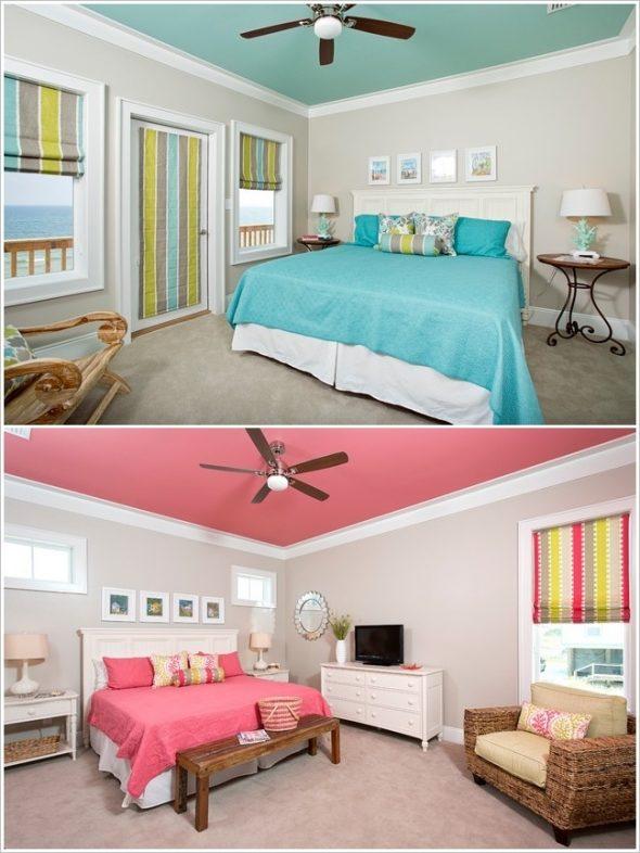 Светлые спальни с цветными потолками