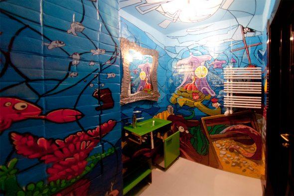 Мультяшная роспись стен в ванной