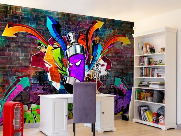 Смелый дизайн стен в комнате подростка
