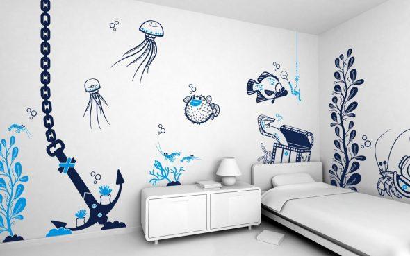 Оформление стен в морском стиле