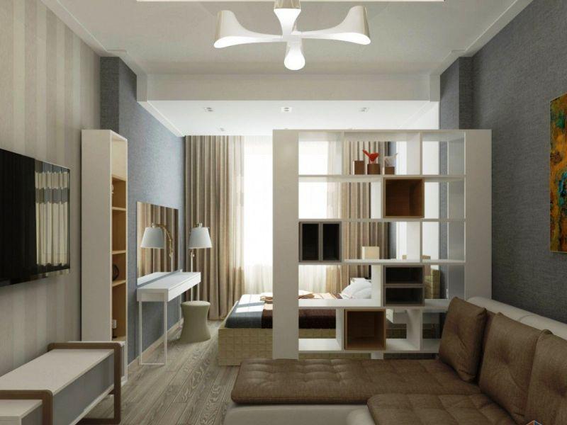 Как разделить однокомнатную квартиру на две зоны: фото-идеи