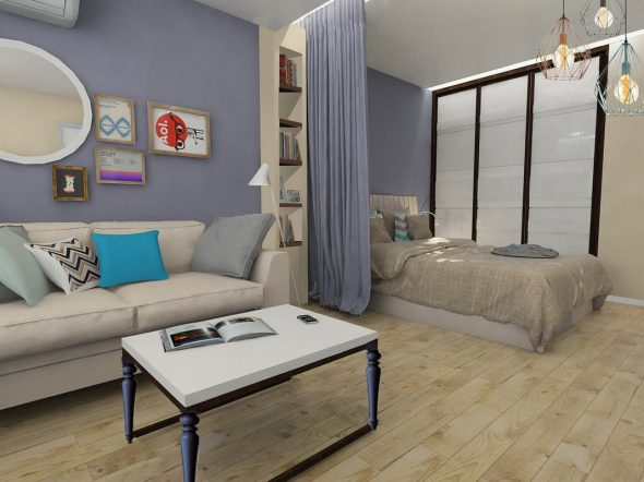 разделение комнаты на две зоны с помощью шторы