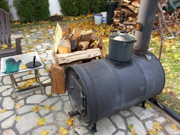 горизонтальная печь из бочки 200 литров
