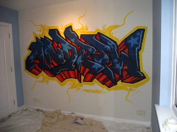 украшение белой стены граффити