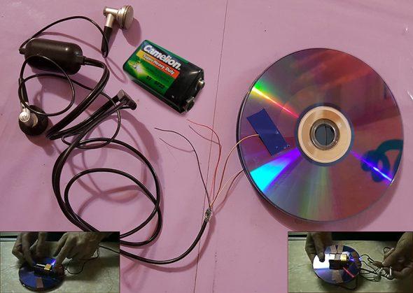 Металлоискатель из дисков, калькулятора и наушников