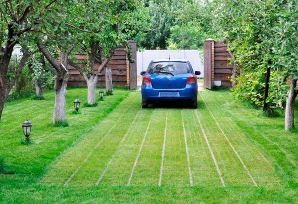 Стоянка в саду для машины