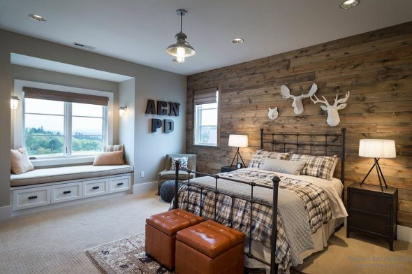 спальня в стиле охотничьего домика