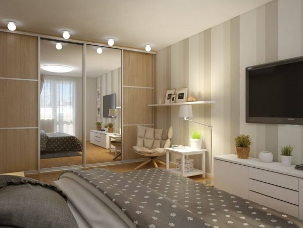 Расстановка мебели в комнате 5 на 3