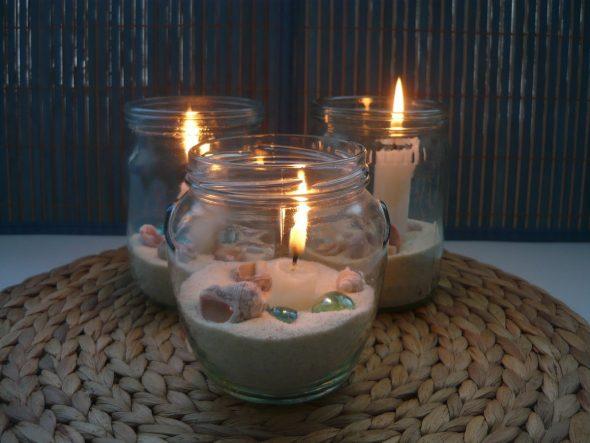 Свечи в банке с ракушками